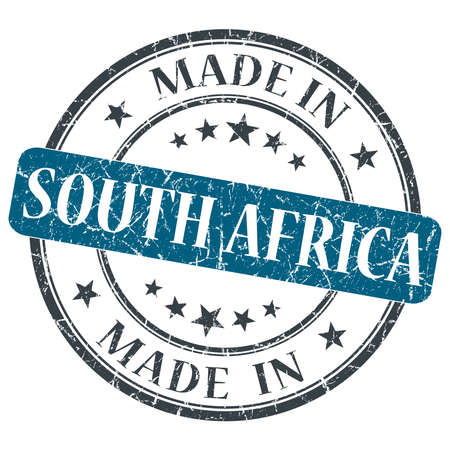 made in SOUTH AFRICA blue grunge stamp isolated on white background photo