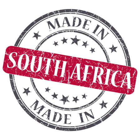 made in SOUTH AFRICA red grunge stamp isolated on white background photo