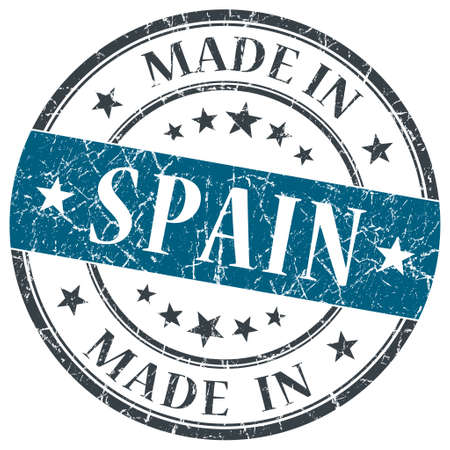 made in spain: made in Spain blue grunge round stamp isolated on white background