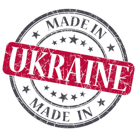made in UKRAINE red grunge stamp isolated on white background photo