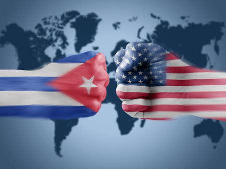 vying: Cuba x USA Stock Photo