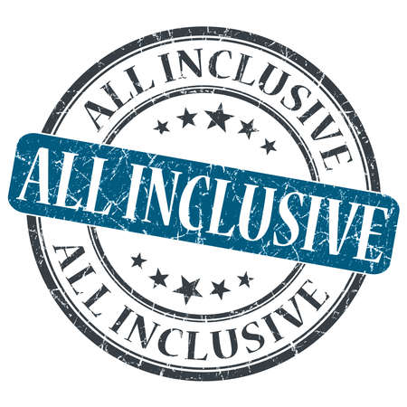 inclusive: All Inclusive blue grunge round stamp on white background Stock Photo