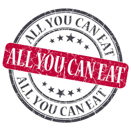 All You Can Eat red grunge round stamp on white background photo