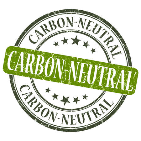 co2 neutral: Carbon Neutral green grunge round stamp on white background Stock Photo