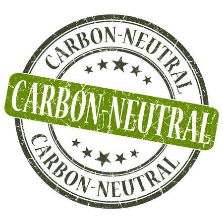 carbon neutral: Carbon Neutral green grunge round stamp on white background Stock Photo