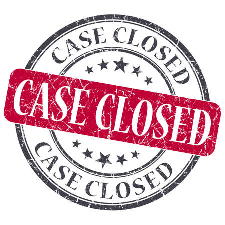 passkey: Case Closed red grunge round stamp on white background