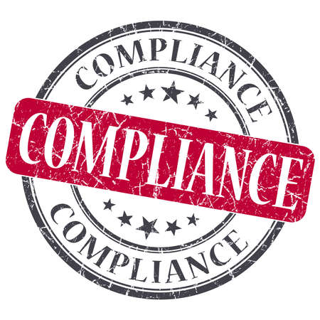 Compliance red grunge round stamp on white background photo