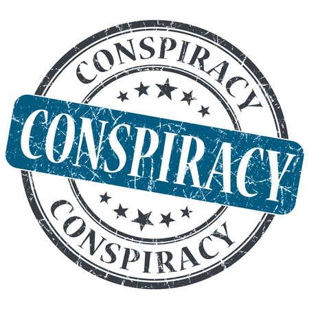 Conspiracy blue grunge round stamp on white background photo