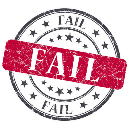 unaccepted: Fail red grunge round stamp on white background