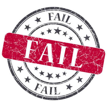 blunder: Fail red grunge round stamp on white background
