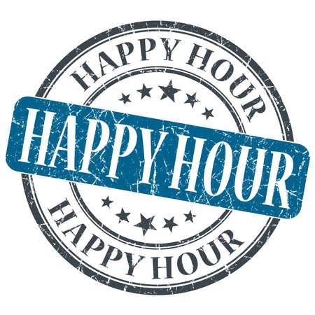 Happy Hour blue grunge round stamp on white background photo