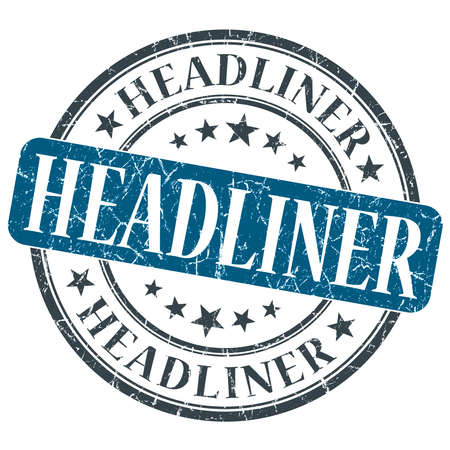 actual: Headliner blue grunge round stamp on white background Stock Photo