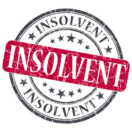 insolvent: Insolvent red grunge round stamp on white background Stock Photo