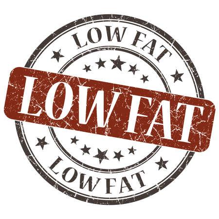 Low Fat brown grunge round stamp on white background photo
