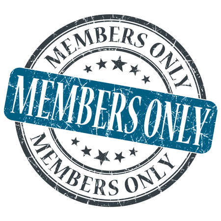 Members Only blue grunge round stamp on white background photo