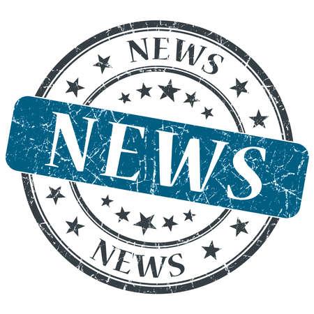 News blue grunge round stamp on white background photo