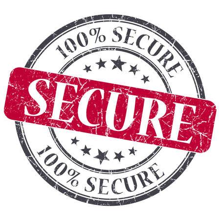 trustworthy: Secure red grunge round stamp on white background
