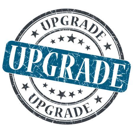 Upgrade blue grunge round stamp on white background