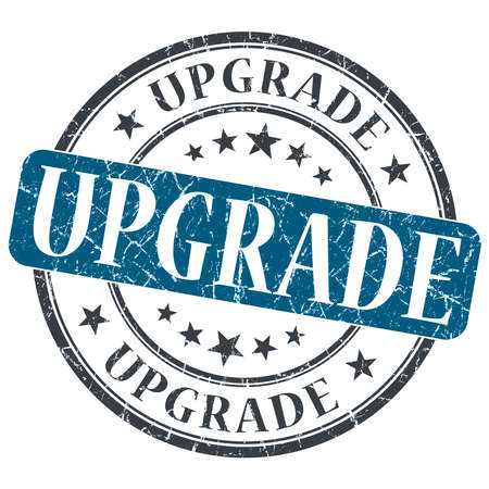 upgrade: Upgrade blue grunge round stamp on white background