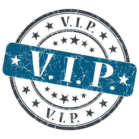 VIP blue grunge round stamp on white background photo