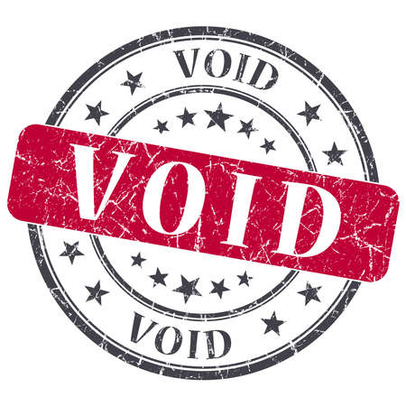 void: Void red grunge round stamp on white background