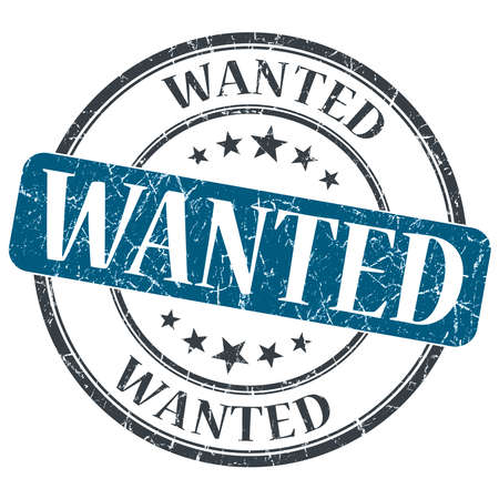 Wanted blue grunge round stamp on white background photo