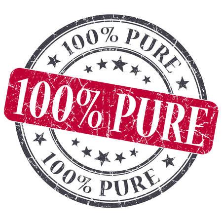 100% Pure red grunge round stamp on white background photo