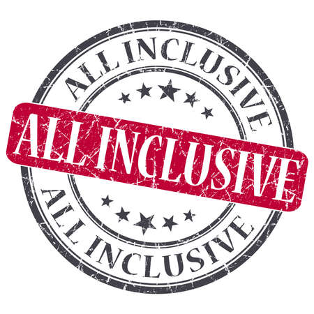 inclusive: All Inclusive red grunge round stamp on white background