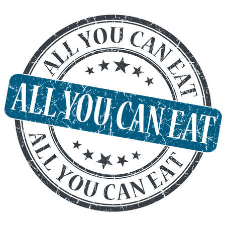 All You Can Eat blue grunge round stamp on white background photo
