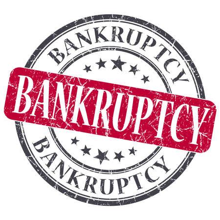 moneyless: Bankruptcy red grunge round stamp on white background