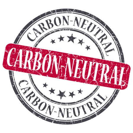 carbon neutral: Carbon Neutral red grunge round stamp on white background