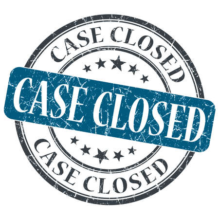 Case Closed blue grunge round stamp on white background