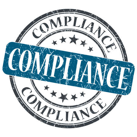 Compliance blue grunge round stamp on white background
