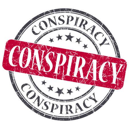 Conspiracy red grunge round stamp on white background photo