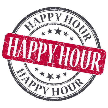 Happy Hour red grunge round stamp on white background photo