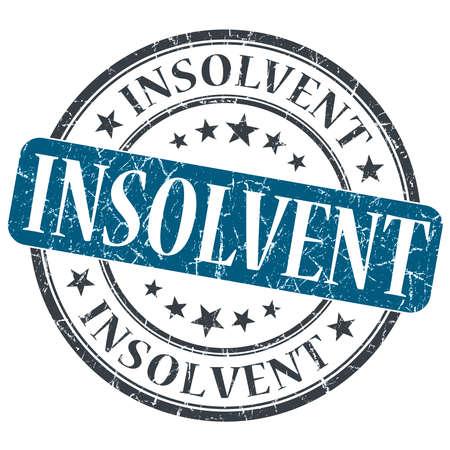 moneyless: Insolvent blue grunge round stamp on white background