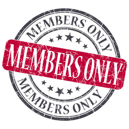 only members: Members Only red grunge round stamp on white background