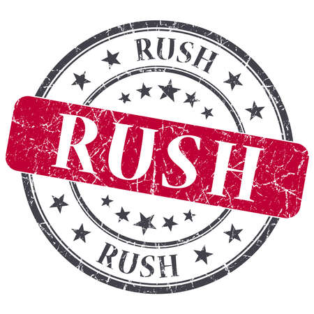 prioritize: Rush red grunge round stamp on white background