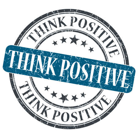 Think Positive blue grunge round stamp on white background photo