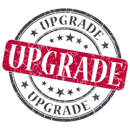 upgrade: Upgrade red grunge round stamp on white background