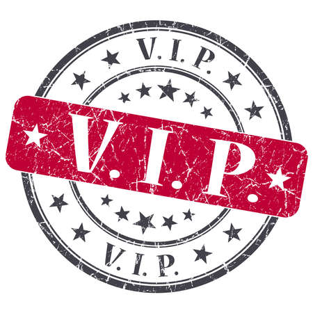 VIP red grunge round stamp on white background photo