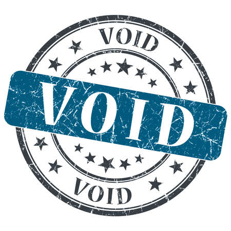 void: Void blue grunge round stamp on white background