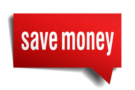 save money: Save money red 3d realistic paper speech bubble isolated on white