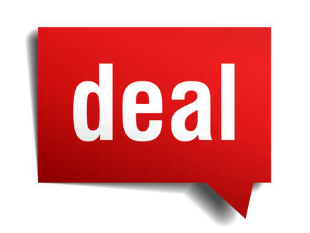 Deal red 3d realistic paper speech bubble isolated on white photo