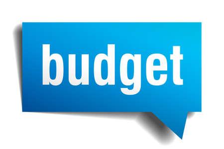 budget blue 3d realistic paper speech bubble isolated on white Ilustração