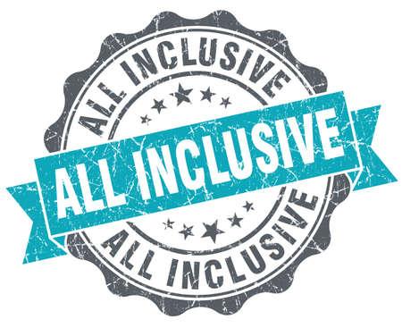 inclusive: all inclusive blue grunge retro style isolated seal Stock Photo