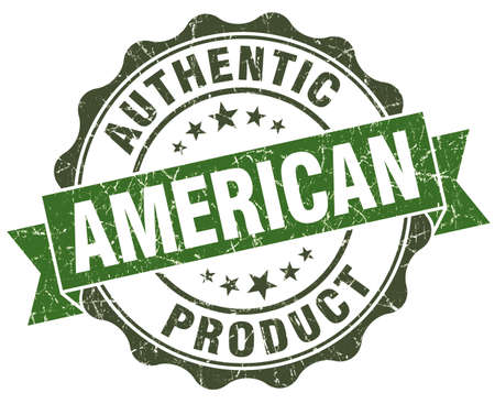 American product green grunge retro style isolated seal photo