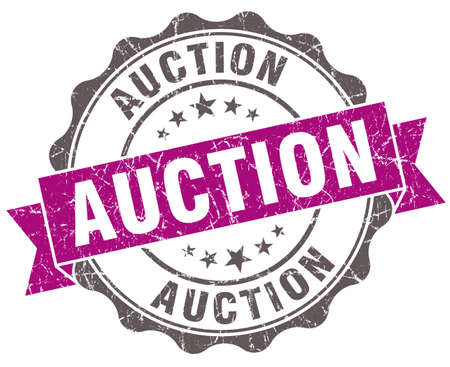 auctioneer: Auction violet grunge retro style isolated seal Stock Photo