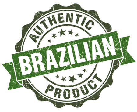 Brazilian product green grunge retro style isolated seal photo