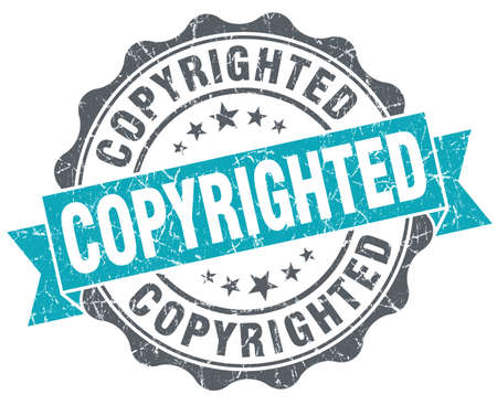 copyrighted: Copyrighted blue grunge retro style isolated seal